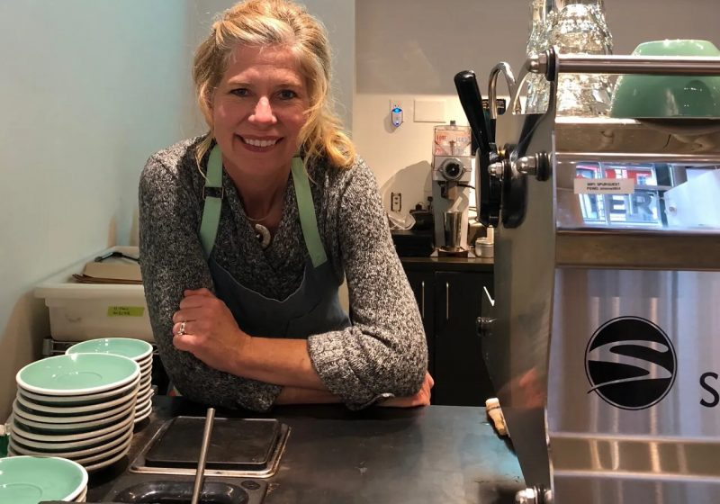 Kellie at the coffee bar